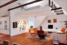 loft, eames, barcelona, chairs, midcentury modern