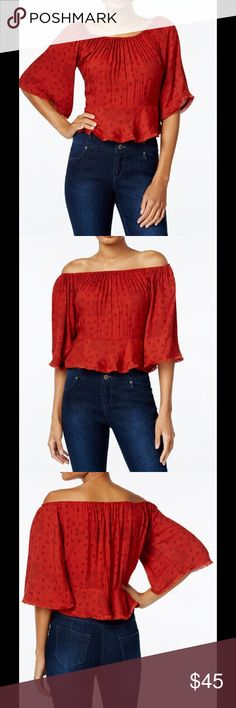 Twayne Rust - Rust Off the Shoulder Top Buffalo David Bitton Twayn Rust Off-The-Shoulder Top?  Put a little sass in your ensemble with this printed cropped top from Buffalo David Bitton. Buffalo David Bitton Tops