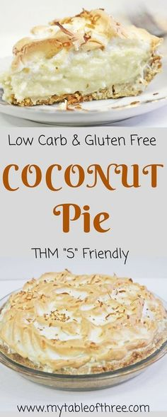 Low Carb and Gluten Free Coconut Cream Pie is a wonderful pie to enjoy without spiking your blood sugar. It is sugar-free and Trim Healthy Mama Sugar Free Desserts, Gluten Free Desserts, Healthy Desserts, Gluten Free Recipes, Low Carb Recipes, Dessert Recipes, Irish Recipes, Flourless Desserts, Healthy Dessert Recipes
