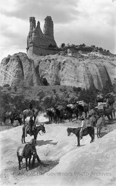 """1889, Navajo Church Rock. Famous Land Mark on the Old Prescott Trail,"""" near Fort Wingate, New Mexico. Photographer: Ben Wittick"""