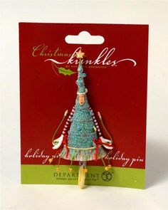"""Dept 56 """"Christmas Krinkles"""" Christmas Tree Holiday Pin Patience Brewster New"""