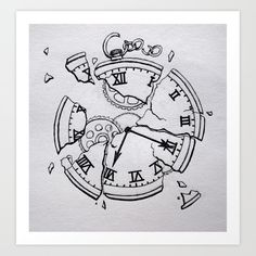 fragments Art Print by Pocket Watch Drawing, Pocket Watch Tattoo Design, Pocket Watch Tattoos, Clock Tattoo Design, Pocket Watch Art, Clock Drawings, Dark Art Drawings, Pencil Art Drawings, Tattoo Drawings
