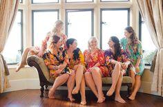 Old down Manor Wedding: Bristol. Kimonos for the bridesmaids!