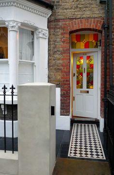 black-and-white-victorian-mosaic-tile-path-london.JPG Railings and shorter wall Edwardian House, Victorian Terrace, Victorian Decor, Victorian London, Victorian Mosaic Tile, London House, House Front, Facade, Interior Decorating