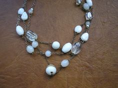 White glass beads multi stand art deco style chain by badgestuff, $9.00