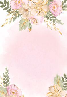 Birthday Background Wallpaper, Photo Frame Wallpaper, Framed Wallpaper, Floral Watercolor Background, Watercolor Flowers, Wedding Invitation Background, Bullet Journal Banner, Shabby Chic Flowers, Flower Template