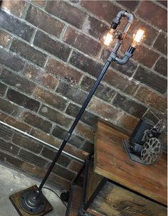 Industrial Edison bare bulb steampunk lamp