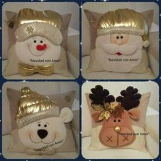 Risultati immagini per cojines para navidad con moldes Xmas Crafts, Felt Crafts, Diy And Crafts, Christmas Cushions, Christmas Pillow, All Things Christmas, Christmas Holidays, Christmas Ornaments, 242