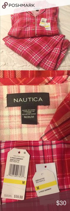 NAUTICA FLANNEL PJS SIZE M NWOT Plaid flannel pjs never worn got for Christmas but too big for me. Nice and warm flannel. NWOT SFH Nautica Intimates & Sleepwear Pajamas