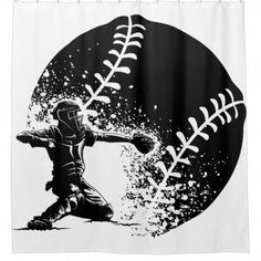 Baseball Catcher at Home Plate With a Grunge Ball Shower Curtain by SportsArtZoo - shop mens shirts, mens pink floral shirt, mens blue button down shirt *ad Baseball Scoreboard, Baseball Tips, Baseball Socks, Baseball Pictures, Baseball Cleats, Baseball Mom, Baseball Shirts, Baseball Cards, Baseball Quotes