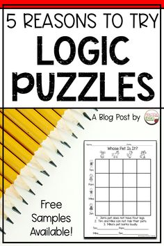 Have you used logic puzzles with your students? I LOVE doing logic puzzles AND teaching my primary students how to do them as well! Read this blog post about five reasons to try logic puzzles in your classroom. You can grab some free samples, too! 1st Grade Activities, Fun Classroom Activities, Teaching Activities, Help Teaching, Classroom Fun, Teaching Writing, Classroom Resources, Teaching Resources, Elementary Classroom Themes