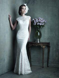 Elegant High Neckline Cap Sleeves Sheath Lace Wedding Dresses