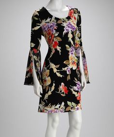 Take a look at this MSK Black & Red Floral Bell-Sleeve Dress by MSK & Beestango on #zulily today!
