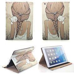 Cas futé de couverture à la mode haut de gamme flip PU cuir pour iPad Air - Fille et chat – EUR € 29.43