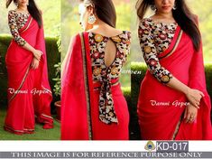 Indian Bollywood New Designer Saree Wedding Party wear Pakistani Lehenga Sari Saree Jacket Designs, Saree Blouse Patterns, Fancy Blouse Designs, Blouse Neck Designs, Kalamkari Blouse Designs, Neckline Designs, Salwar Designs, Dress Patterns, Saris