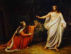 """Jesus said to her, """"Mary!"""" She turned to him and said """"Rabbouni!"""" (meaning """"Teacher"""") Jesus then said: """"Do not cling to me, for I have not yet ascended to my Father and your Father, to my God and your God!"""" Mary Magdalene went to the desciples. """"I have seen the Lord!"""" she announced. Then she reported what he had said to her. John 20:16-17"""