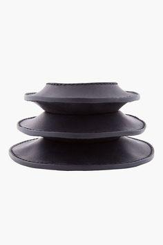 RICK OWENS Black Leather Brancusi Bracelet
