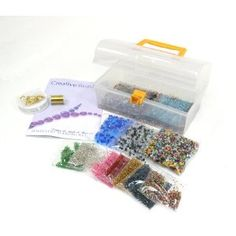 Jewellery Making Kit - Contains Silver Lined Beads, Bi-cone Beads, a wide assortment of Glass Beads, Stretchy Cord, Beading Wire, Crimping Tubes. Everything you need to make lots of Jewellery - Ideal gift or party activity: Amazon.co.uk: Toys & Games