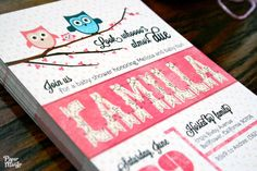 Owl baby shower invitations postcard features by ThePaperMango, $18.00