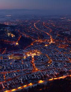 Brasov Romania at night (by Barbu Seabastian)) Brasov Romania, World Cities, Aerial Photography, Space Photography, Inspiring Photography, Birds Eye View, Urban Landscape, Albania, Aerial View