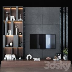 3d models: TV Wall - TV shelf 0132 Living Tv, Living Room Wall Units, Modern Living, Minimalist Living, Living Rooms, Living Room Designs India, Living Room Tv Unit Designs, Tv Wall Unit Designs, Modern Tv Unit Designs