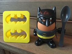 Batman eggcup and batman logo for toast.