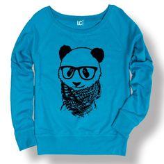 Hipster Panda Boho Glasses Cool Funny Cute Fashion Novelty - Ladies Sweatshirt