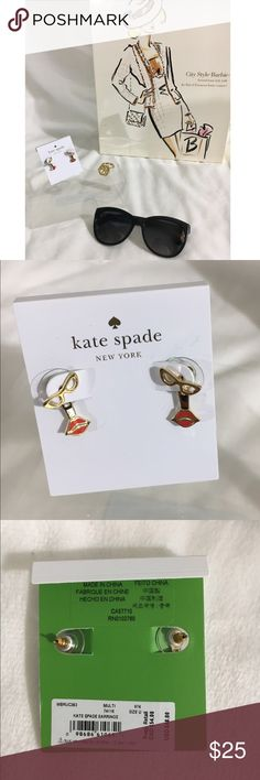 🆕📸Kate Spade Lips and Sunglasses Earrings NWT! --  Super cute lips and sunglasses earrings! --  Retails for $48 --  gold plated 1.5 cm --  Comes with dust bag kate spade Jewelry Earrings