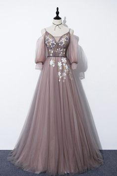 Elegant v neck tulle long prom dress evening