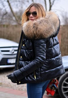 METALIC BLACK DOWN JACKET WITH HOOD & FUR. this year our proposal is a metallic silver jacket with finnraccoon fur. REAL FINNRACCOON FUR ON THE HOOD. PERFECT COAT FOR MODERN WOMEN LIVING IN THE CITY. | eBay!