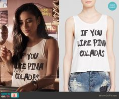 Emily's 'If You Like Pina Coladas' tank top on Pretty Little Liars. Outfit Details: https://wornontv.net/55394/ #PLL