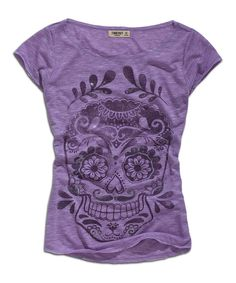 Look what I found on #zulily! Lilac Melange Sugar Skull Scoop Neck Tee by TIMEOUT #zulilyfinds