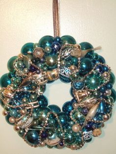 "vintage handmade christmas ornament wreath blue 17.5"" glass shiny brite beads"