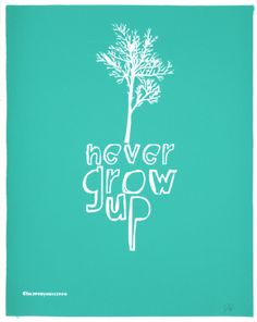 Never Grow Up (Light Blue) Serigraph by Kyle & Courtney Harmon. Print from Art.com, $21.99