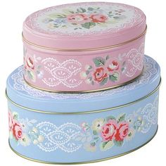 Cath Kidston - Set of 2 Trailing Floral Oval Tins