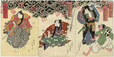 Gigado Ashiyuki: Actors Arashi Kanjûrô I as Hayakawa Genba and Bandô Jûtarô I as Naruto Kobei, actually Amako Haruhisa (R); Asao Gakujûrô I as Mori Motonari (C); and Arashi Kitsusaburô II as Kanren Monpei, actually Tsutsumi Sehei (L) - Museum of Fine Arts