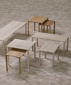 Piloti Table - Small: Piloti is a series of solid oak side tables. The subtle detailing of the table top creates the impression of a single line, floating between four delicate legs. The tables are supplied in two heights and can be combined as a nest. Coffee Table With Drawers, Side Coffee Table, Side Tables, Table Legs, A Table, Dining Table, Outdoor Dining Chairs, Outdoor Furniture Sets, Danish Furniture
