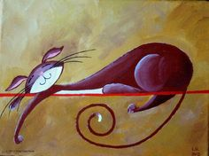 Original Cat Acrylic Painting for Sale Serene by NaturelandsAndCo