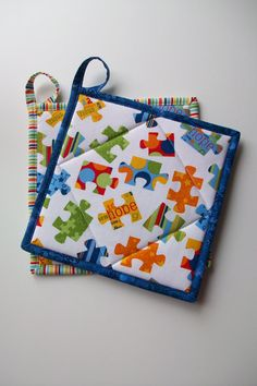 Jigsaw Puzzle Quilted Pot Holders,  Puzzle Pieces Hot Pads