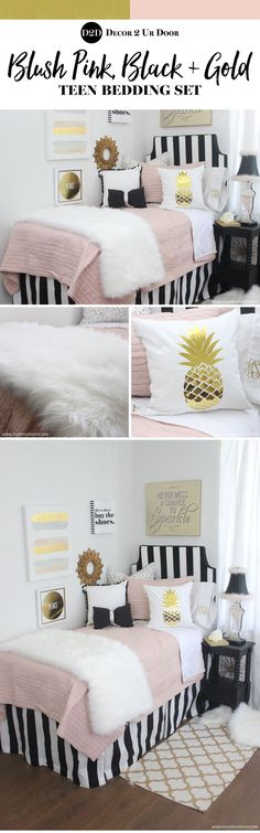 Fun Fringe and Fur This teen bedding set is totally trendy Our blush pink quilt combines with bold black stripes metallic dalmatian print fur fFun F… – Dorm Room Preppy Dorm Room, Boho Dorm Room, Dorm Room Headboards, Dorm Room Bedding, Pink Bedding, Preteen Bedroom, Girls Bedroom, Bedrooms, Pink Dorm Rooms