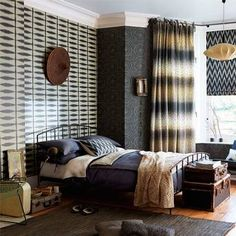 Feeling brave? Shibori wallpaper will certainly create impact – and layers of shibori to maximise the look with curtains and rugs, or downplay it with calm neutral tones; scion.uk.com