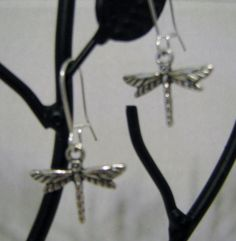 Dragonfly Small Silver Tone Kidney Wire Earrings
