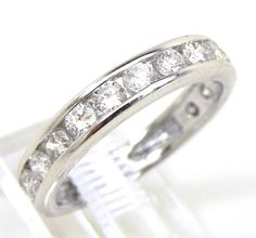 duck band rings   Ladies 14k White Gold Channel Set Diamonds Band Ring