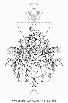 Floral magic symbolic art in boho style. Black and white vector Illustration. Ornate flowers, leaves, sticks,  beads. Spirituality, alchemy, sacred geometry design element  for invitation, tattoo