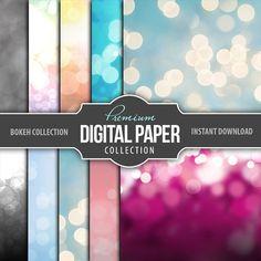 Digital Paper - Bokeh Scrapbook Paper - Digital Bokeh Background Wallpaper - Set of 10 Digital Papers High Res - Printable INSTANT DOWNLOAD