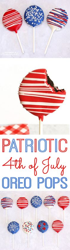 How to Make Patriotic Oreo Pops for of July + over 90 other awesome Red, White & Blue ideas for Independence Day! How to Make Patriotic Oreo Pops for of July + over 90 other awesome Red, White & Blue ideas for Independence Day! Easy July 4th Desserts, Fourth Of July Food, 4th Of July Party, Patriotic Desserts, Patriotic Party, Desserts Fourth Of July, 4th Of July Ideas, Fourth Of July Crafts For Kids, 4th Of July Cake