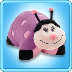 My Pillow Pet Lady Bug - Large (Pink And Purple): A super-soft chenille plush folding stuffed animal, so duddly you'll never want to put it down. Starts out as your Pal, then un-Velcro its belly and it quickly becomes your pillow. Purple Ladybugs, Purple Pillows, Animal Jam, Chenille Fabric, Animal Pillows, Pet Toys, Hello Kitty, Pillow Pets, Pillow Talk