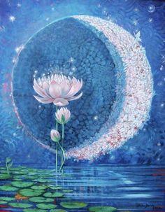 Springtime Moon Poster Springtime Moon by Silvia Duran