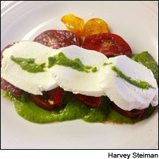 """Homemade """"Pesto"""" with Tomatoes and Mozzarella. Pair this fresh spring/summer dish with a dry rosè wine."""