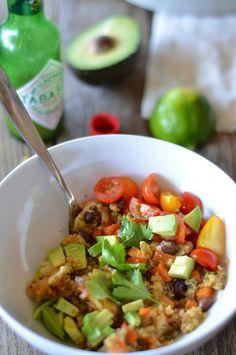 Black Bean & Veggie Taco Quinoa Bake   mountainmamacooks.com #glutenfree #TacoTuesday